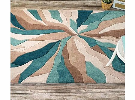 The Rug Trader Flair Rugs Infinite Splinter Handtufted Rug, Teal/Green, 160 x 220 Cm product image