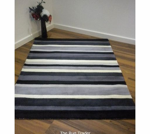 The Rug Trader Footballers Wives Charcoal Stripes Wool Rug. Cheryl Cole Style in Various Sizes (160cm x 230cm) product image
