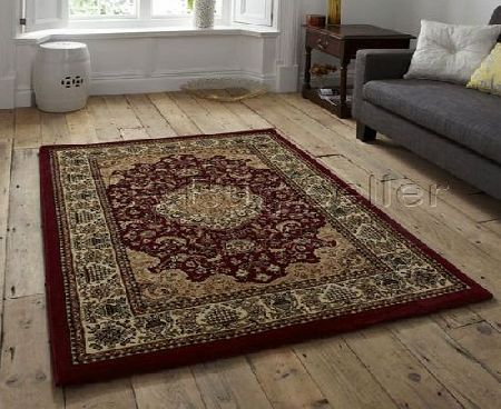 Think Rugs Heritage 02A Traditional Hand Carved Rug, Red, 80 x 140 Cm product image