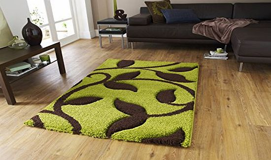 Think Rugs Modern Contemporary Wool Style Rug Hand Carved Living Room Floor Mat Leaves 120x170cm Green Brown product image