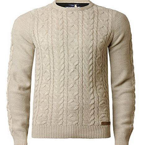 Threadbare Mens Cable Knit Jumper Threadbare IMT 110 Sweater Pullover Warm Winter Knitwear, Oatmeal, Medium