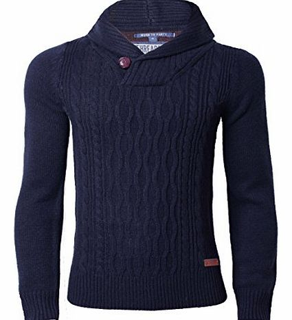 Threadbare Mens Cable Knit Jumper Wool Mix Threadbare IMT 067 Sweater Pullover Knitwear, Navy, X-Large