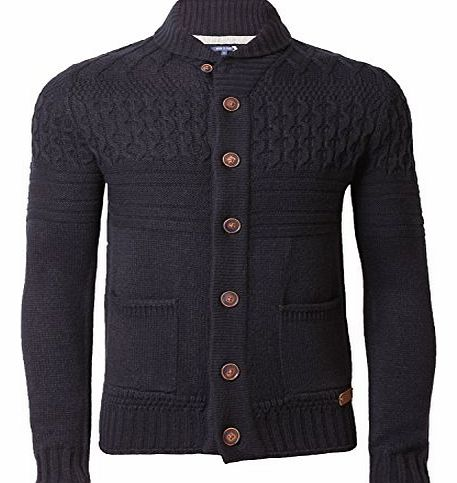 Threadbare Mens Cardigan Knitwear Shawl Neck Sweater Cardi Cable Knit Threadbare IMT 064, Navy, Large