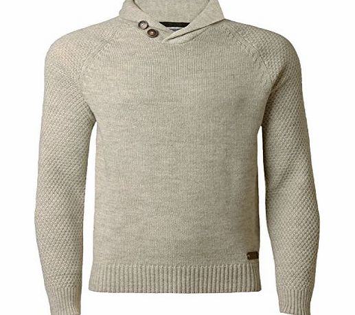 Threadbare Mens Knitwear Jumper Shawl Neck Wool Mix Sweater Pullover Threadbare IMT 059 Oatmeal marl, Large