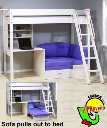 Thuka Maxi White 7 Cabin Bed With Sofa Bed And Desk