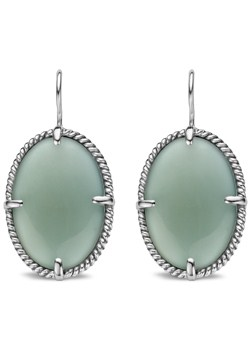 Silver Green Stone Drop Earrings 7605OG