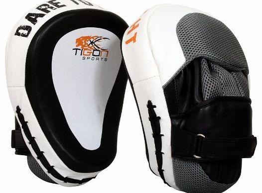 TurnerMAX Leather Boxing Bag Gloves Grappling Punch Bag Mitts Black
