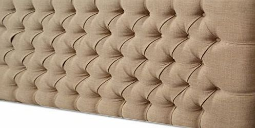 TIH BEDS 2FT6,3FT,4FT,4FT6,5FT DESIGNER NEW STYLE FABRIC MATCHING BUTTONS HEADBOARD (4FT6 DOUBLE, MINK CHENILLE) by TIH BEDS