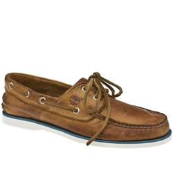 Male Classic Boat Leather Upper Lace Up Shoes in Natural - Honey