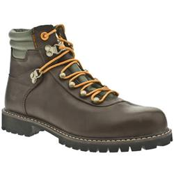 Male Newmarket Hiker Leather Upper Casual Boots in Dark Brown