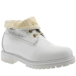 Male Roll Top Lux Wn Leather Upper Casual Boots in White and Gold