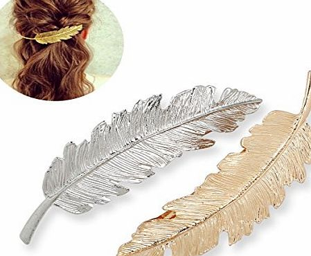 Tinksky Leaf Shaped Hair Clip Pin Claw Headwears Hair Accessories Pack of 2 (Golden Silver)
