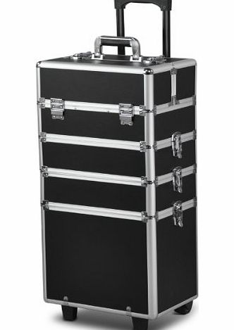 tinxs All in 1 Pro Large Aluminium Hairdressing Makeup Vanity Toiletry Storage Nail Case Box Beauty Cosmetics Trolley 4 in 1 (Black)