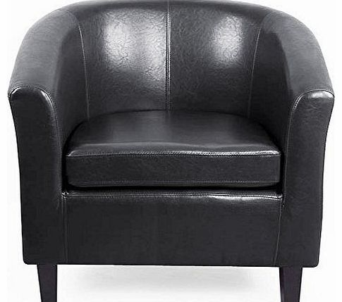 tinxs black pu bonded leather tub chair armchair for dining living