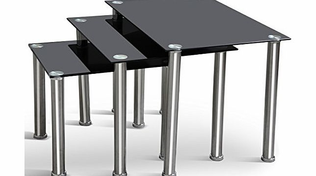 tinxs  New Fashionable Nest of 3 Black Modern High Quality Tables Thick Tempered Glass amp; Chrome Legs