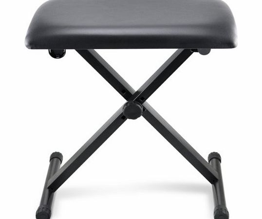 Pro Keyboard Bench Foldable Folding Piano Stool Seat X Frame Adjustable Height Black