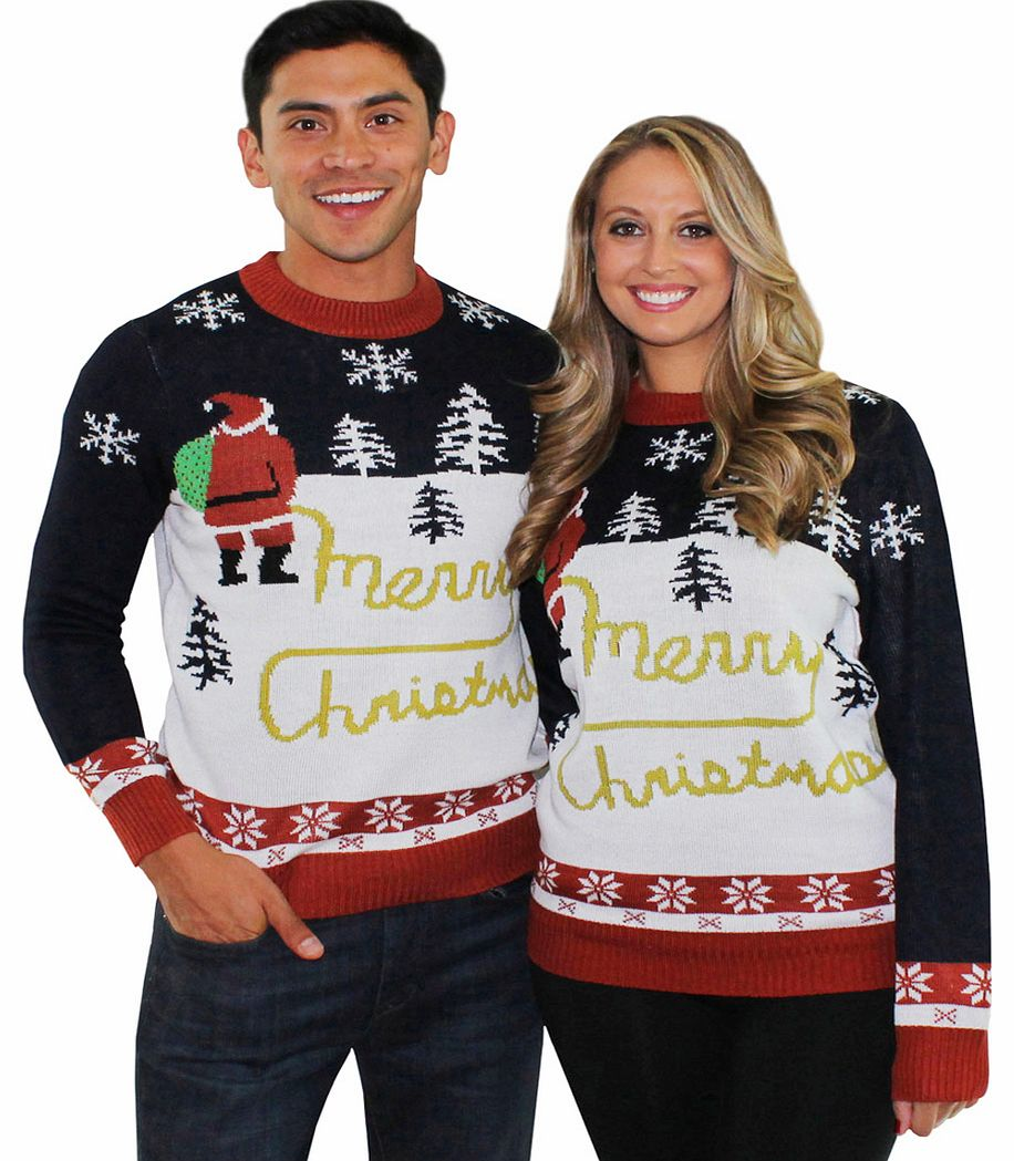 Unisex Blue And Red Santa Yellow Snow Christmas
