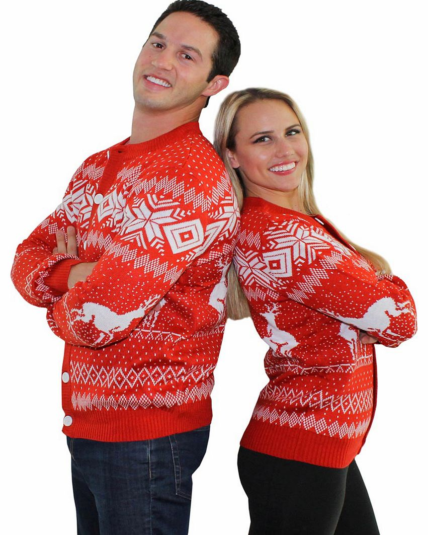 Unisex Red Reindeer Double Date Romp Christmas