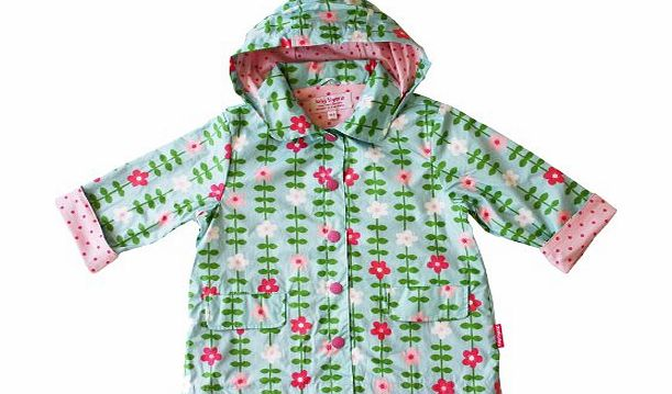 Toby Tiger Baby Girls Flowers Raincoat Blue/ Pink 1 - 2 Years