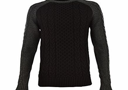 Tokyo Laundry Mens ``Matty`` Cable Textured Knit Raglan Sleeve Jumper Black Small