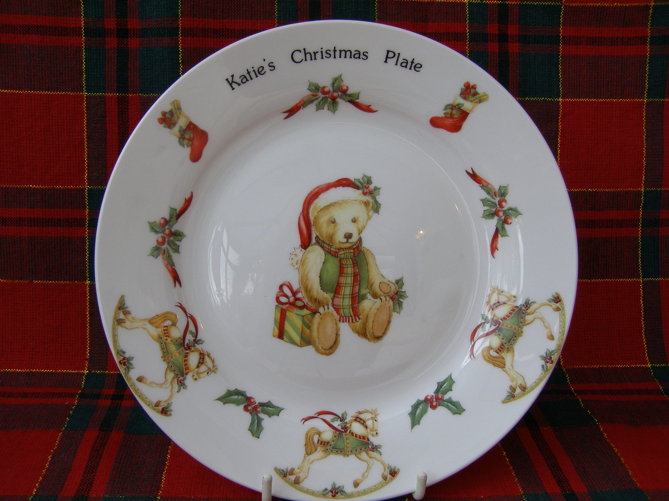 Traditional Christmas Teddy Bear Personalised Plate