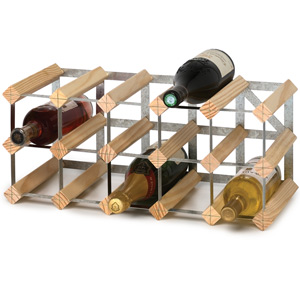 Self Assembly 15 Bottle Wine Rack Pine
