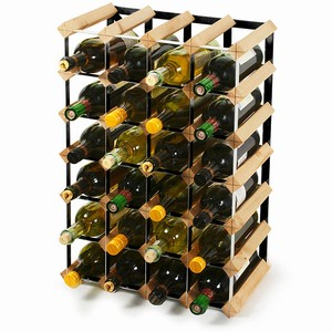 Wooden Wine Rack - Pine and Black