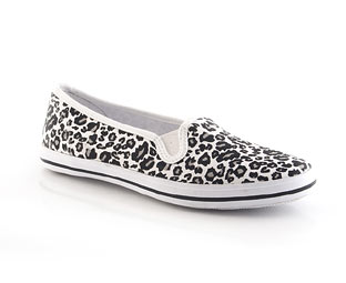 Canvas Leopard Slip On Pump