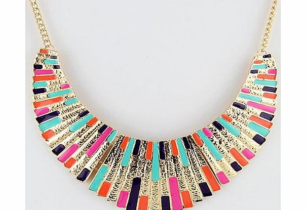 Treeland Hot Selling Fashionable Equisite Colorful Enamel Gold Color Alloy Bib Chucky Necklace For Women Costume Jewelry (colorful) product image
