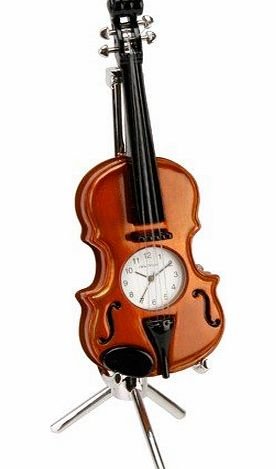 Violin with Separate Stand Novelty Miniature Clock