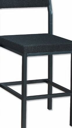 High Stool with Upholstered Backrest and Seat W410xD410xH700mm Charcoal