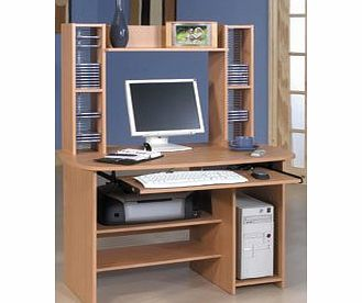 Trexus Launch Computer Workstation with 3 Shelves and CD Storage W1100xD600xH1440mm Beech product image