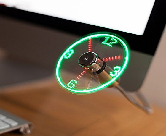 TRIXES Flexible USB LED Display Desktop amp; Laptop Clock Fan
