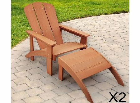 2 x Trueshopping Adirondack Outdoor Garden or Patio Wooden Wood Armchair / Sun Lounger Sunlounger Chair With Leg Rest in Light Teak - No Maintenance Easy Care Polyteak