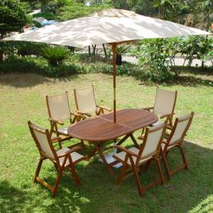 This is a quality hardwood folding Table set with 6 folding Armchairs  - CLICK FOR MORE INFORMATION