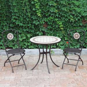 Bistro Table Tile top design with two matching chairs   Diameter: 71cm (28``) Height: 71cm (28``)    - CLICK FOR MORE INFORMATION