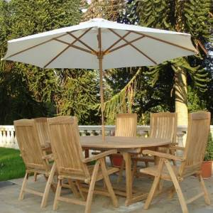 3 metre round Cream Parasol / Umbrella. Natural addition to the `Borrowdale` set. Table priced at :  - CLICK FOR MORE INFORMATION