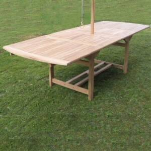 Magnificent extending garden table in fine quality Teak. This table has two butterfly leaves which e - CLICK FOR MORE INFORMATION