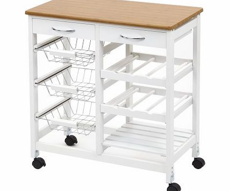Chacombe White Frame Outdoor Garden Yard Kitchen Trolley / Cart with Storage & Wood effect Worktop | With Wheels & 2 Drawers