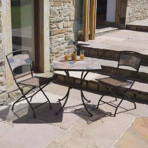 Garden Patio Bistro Set: Slate Top Dining Table