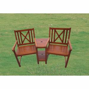Beautiful sturdy hardwood Corner `Love` Seat for two. Will grace any garden  patio location. Comfort - CLICK FOR MORE INFORMATION