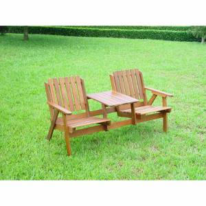 Beautiful sturdy hardwood Tete A Tete /  `LOVE SEAT` seat for two. Will grace any garden  patio loca - CLICK FOR MORE INFORMATION