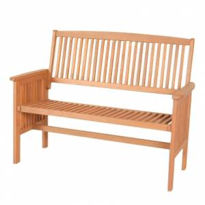 Straightforward simple design hardwood two-seater bench  with a Teak Oil finish.   This item is deli - CLICK FOR MORE INFORMATION