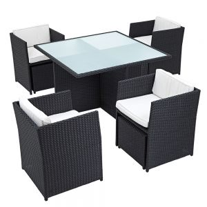 Helena Outdoor Rattan Cube Patio Dining Set 4