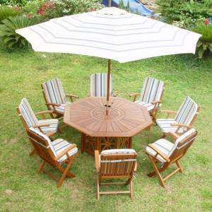 Exquisite hardwood garden / patio set for alfresco dining destined to impress.  Without doubt  this  - CLICK FOR MORE INFORMATION