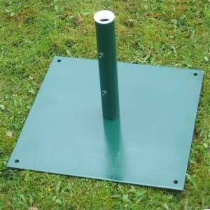 Metal Square Parasol base Size: 460 x 460 x 330mm(h) Internal diameter 41 mm Weight: 14 kg - CLICK FOR MORE INFORMATION