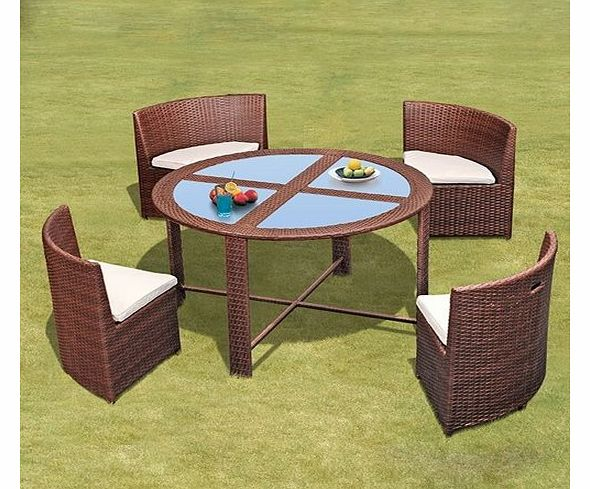 Modern Wicker ``Elise`` Brown Garden / Patio Outdoor Dining Set with Round Glass Table and Aluminium Frame, 4 chairs with padded cushions & includes FREE Waterproof Weather Cover