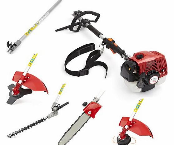 NEW TRUESHOPPING® 62CC TOTAL GARDENERX5PRO PROFESSIONAL PETROL LONG REACH MULTI FUNCTION 5 IN 1 GARDEN POWER TOOL INCLUDING: HEDGE TRIMMER, STRIMMER, BRUSHCUTTER, CHAINSAW PRUNER & FREE EXTENSION