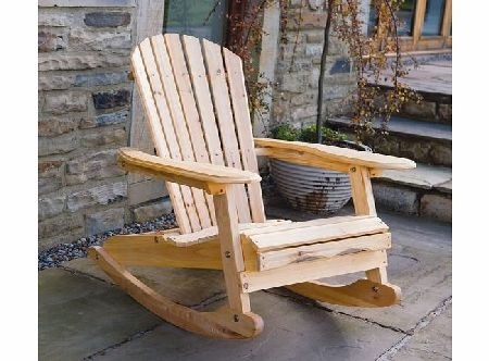 Trueshopping Outdoor Garden / Patio / Lawn Adirondack Vintage ``Bowland`` Rocking Rocker Chair - Natural Wood Finish - Perfect for Indoor Or Outdoor Use - Easy To Assemble product image