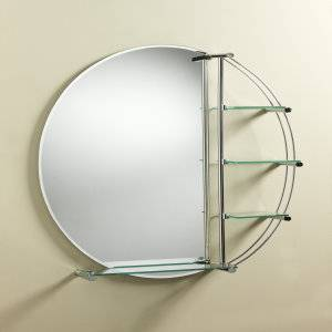 Trueshopping round mirror with shelves review compare prices buy online - Contemporary bathroom mirror with glass shelf ...